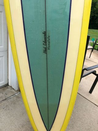Phil Edwards Vintage Surf Board Purchased In Hawaii 1967 9 Ft 6 Inches