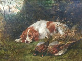 Rare Fine Large 19th Century Antique Dog / Hunting Oil Painting