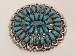 Rare Vintage Signed Sterling Silver Navajo Turquoise Brooch Pin Pendant Large