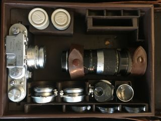 Vintage Leitz Leica Camera Box System 1939 Iiib,  3 Lenses And Accessories