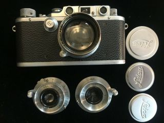 Vintage Leitz Leica Camera Box System 1939 IIIB,  3 lenses and accessories 2