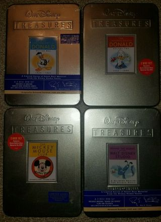 RARE SET 22 DISNEY TREASURES DVDs MOST TINS DONALD MICKEY PLUTO 7