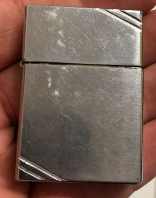 Vintage Zippo Lighter Square Case W/ Slashes 4 Barrel Hinge Rare 1930s