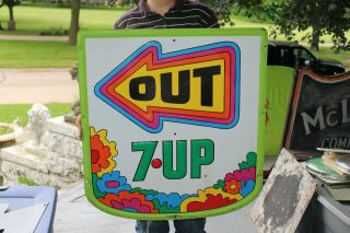"""Rare Vintage 1970 7up 7 Up Peter Max Soda Pop Gas Oil 30 """" Embossed Metal Sign"""