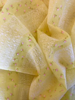 """Vintage Flocked Yellow Bright Sun Pink Flowers 68""""x44"""" (almost 2 Yards)"""
