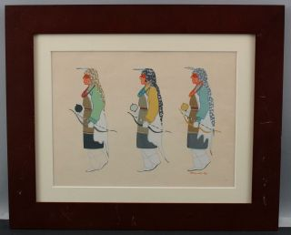 Antique 1946 Martinez Native American Hopi Indian Man Rattle & Bow Painting