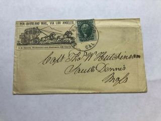 "Rare 1860 Butterfield Overland Stage Cover From San Francisco ""via Los Angeles"""