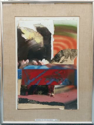 Vintage Pencil Signed Syd Solomon Abstract Mixed Media Collage Geo Medley 1981