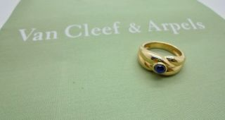 Authentic Van Cleef & Arpels Vca Cabochon Sapphire 18k Yellow Gold Ring - Rare