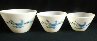 (estate) Rare Set Of 3 Nesting Fire - King Mixing Bowls Pattern With Blue Bird