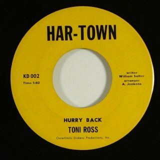"Toni Ross "" Hurry Back "" Ultra Rare Northern Soul 45 Har - Town Mp3"