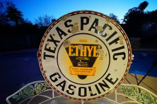 """Texas Pacific Gasoline 42 """" Double Sided Porcelain Vintage Sign"""