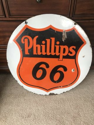 """Extremely Rare Phillip 66 Double Sided Porcelain Curb Sign White Backgroun 29.  5"""""""