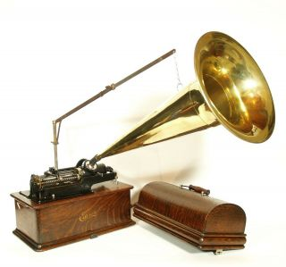 "1906 Edison Home Phonograph With Rare,  Type D Repeater & 24 "" Brass Horn"