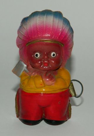 Vintage & Very Rare Meter Indian Chief Celluloid Figurine Toy Japan 40