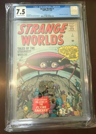 Strange Worlds 1 Cgc 7.  5 Ow Pages Early Kirby 1958 Atlas Rare