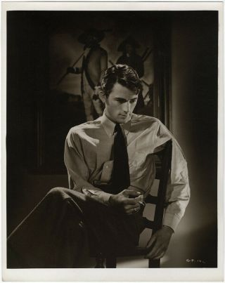 Moody 1940s Vintage Ernest A.  Bachrach Gregory Peck Large Dramatic Photograph
