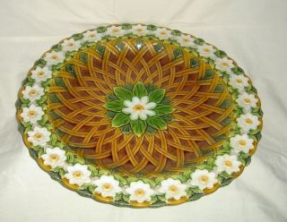 Stunning Antique Minton Majolica Large Daisy Trellis Pattern Charger / Stand