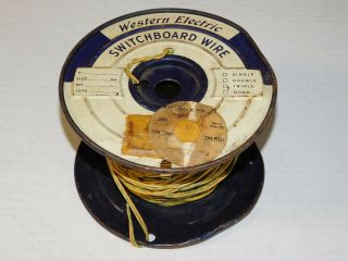 Vtg 1950 Western Electric Switchboard Cloth Wire Spool Speaker Amp Green Yellow