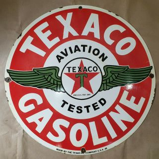 Texaco Aviation Gasoline Vintage Porcelain Sign 30 Inches Round