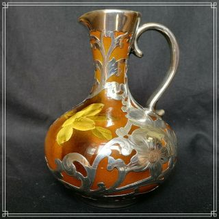 Rare & Splendid Pottery With Gorham Silver Overlay Pitcher Or Jug Rookwood 1893
