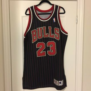 "1995 - 96 Champion Michael Jordan Chicago Bulls Pro Cut Game Jersey Sz 46,  3 "" Vtg"