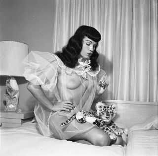 Rare Bettie Page 1954 Camera Negative Bunny Yeager Famous Cheetah Shoot
