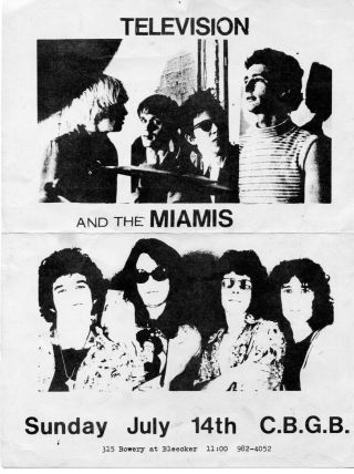 Television Cbgb Flyer Punk Rock 1974 Richard Hell Miamis Very Rare