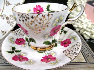 Queen Anne Tea Cup And Saucer Floral Gold Gilt Pattern Teacup Swirls