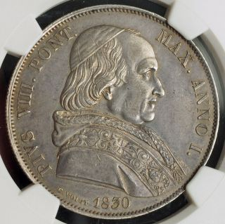1830,  Italy,  Vatican,  Pope Pius Viii.  Large Silver Scudo Coin.  Rare Pcgs Au - 58