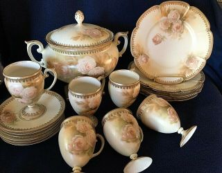 Rare 20 Pc Rs Prussia Satin Finish Bowl Lid Cups Saucers Plates Roses Red Mark