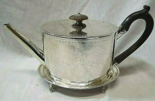 Old Antique George Iii Sterling Silver Teapot & Trivet Stand Digby Scott Holland