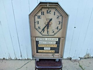 "Vintage 32 "" Tombstone Crescent Dial Neon Advertising Clock"