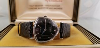 Hamilition Thor Gents Rare 10k W.  G.  F.  Black Dial Org Box Very 1960s
