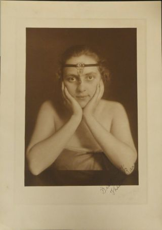 Rare Early Silent Movie Actress Hand Signed Theda Bara Oversized Vamp 1916