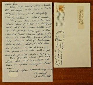 Rare Babe Ruth Called Shot Hand Written Signed Letter By Joe Sewell With Jsa