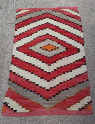 Large Antique Western Circa - 1900 Native American Navajo Indian Wool Rug