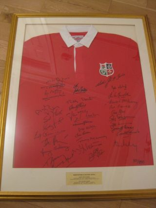 Rare British Lions 1974 Signed Framed Shirt Limited Edition 301/350
