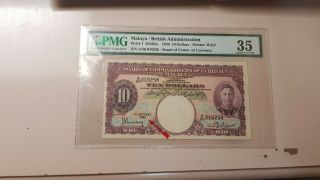 Malaya 10 Dollars 1940 Pmg35 Rare Keydate With Good Score