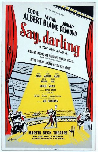 Triton Offers Rare Orig 1958 Broadway Poster Say,  Darling Comedy About A Musical