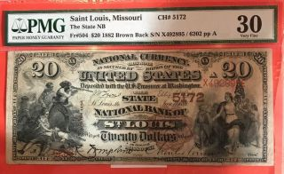 1882 $20 State Nb Of St.  Louis Missouri Pmg 30 Fr.  504 Charter Ch 5172 Very Rare