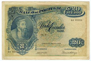 Portugal 1919 Issue 20 Escudos Very Rare Note Very Crisp Choice Vf.  Pick 118.