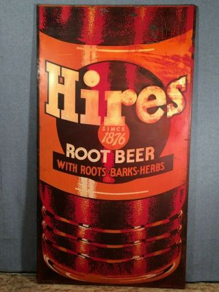 """Vintage Large Hires Root Beer Painted Tin Sign 60 """" High Press Sign Co Bn - 15"""