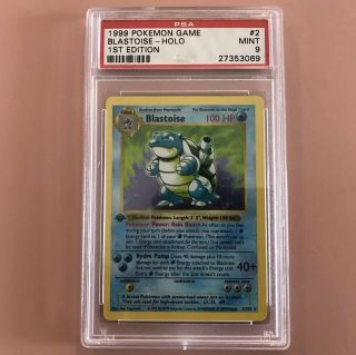 1999 Pokemon 1st Edition Base Set Blastoise Holo Rare Psa 9 2/102