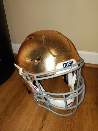 Notre Dame Rare Football Riddell Speed Flex Gold Helmet Game Xl Make Offers