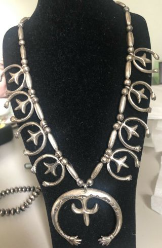 Rare Vintage Antique Sterling Silver Old Pawn Navajo Squash Blossom Necklace