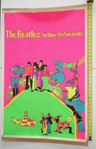 Vintage The Beatles Poster Prints Blacklight Poster - Yellow Submarine