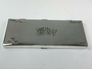 """Sterling Silver Arts & Crafts Frank Patania Wide Cigarette Case Box """" Shanty """""""