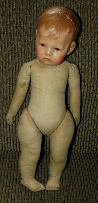 EARLY ANTIQUE Doll KATHE KRUSE Cloth WIDE HIPS Mask Face 11