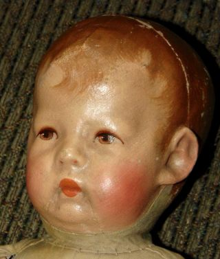 EARLY ANTIQUE Doll KATHE KRUSE Cloth WIDE HIPS Mask Face 5